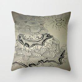 Ink Doodle Sprial Design Throw Pillow