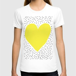 Yellow heart with grey dots around T-shirt