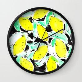 Bold Lemons Black Wall Clock