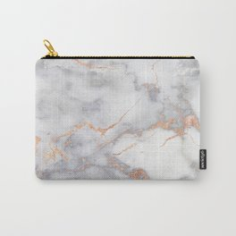 Gray Marble Rosegold  Glitter Pink Metallic Foil Style Carry-All Pouch
