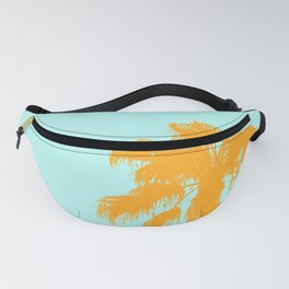 Orange palm trees silhouettes on blue Fanny Pack