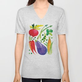 Veg Out - Vegetable, Veggies, Watercolor, Food, Beet, Carrot, Pea Unisex V-Neck