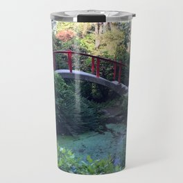 Red arched bridge at Kubota Garden Travel Mug