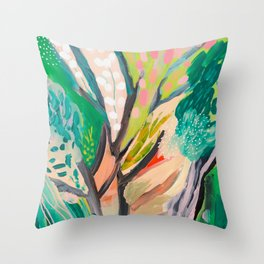 tree and leaf : abstract painting Throw Pillow