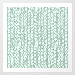 Knit Wave Mint Art Print