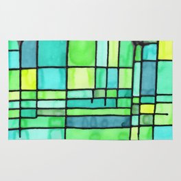 Green Frank Lloyd Wrightish Stained Glass Rug