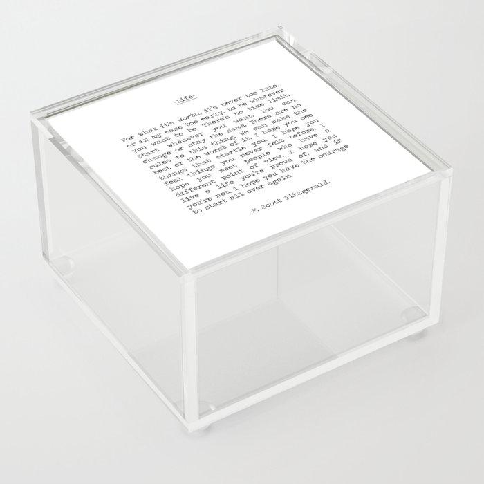 Life quote F. Scott Fitzgerald Acrylic Box