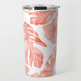 Tropical Hibiscus and Palm Leaves Dark Coral White Travel Mug