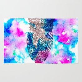 Floral owl illustration pink blue watercolor Rug