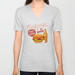 Burgers and Booze Unisex V-Neck