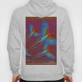 TROPICAL BLUE MACAWS MAROON-BROWN ART Hoody