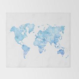 Light blue watercolor world map Throw Blanket
