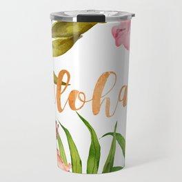 Aloha Watercolor Tropical Hawaiian leaves and flowers Travel Mug