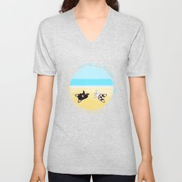 Frenchies Rolling In The Sand Unisex V-Neck