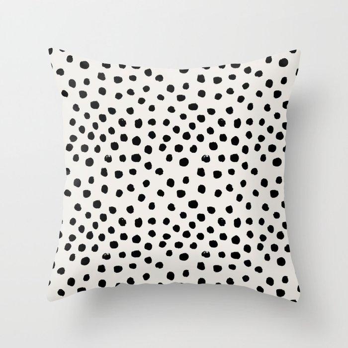 Preppy Brushstroke Free Polka Dots Black And White Spots Dots