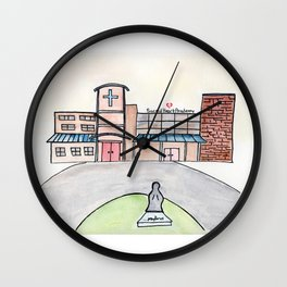 SHA Watercolor, Sacred Heart Academy, Louisville, KY Wall Clock