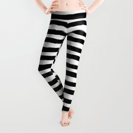 Black And White Hand Drawn Horizontal Stripes Leggings