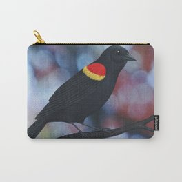 red winged blackbird male bokeh Carry-All Pouch