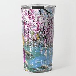 Tardis Art Cherry Blossom River Painting Travel Mug