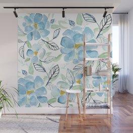 Blue flower garden watercolor Wall Mural