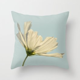 white cosmea Throw Pillow