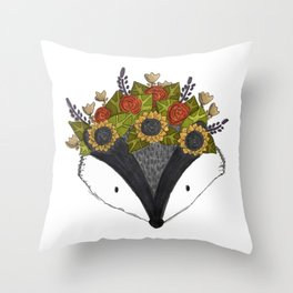 Foral Badger Throw Pillow