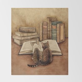 Kittens Reading A Book Throw Blanket