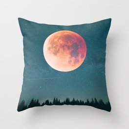Blood Moon Over the Forest on a Starry Night Throw Pillow