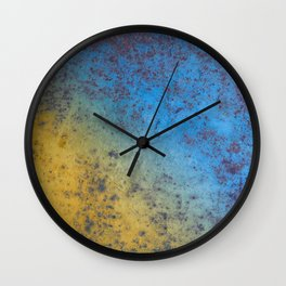 Blue Yellow Background - Rusty metal texture Wall Clock