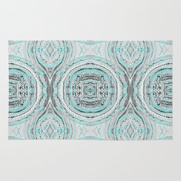 Teal & Blue Complexities - a Watercolor Tribal Pattern Rug