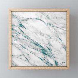 Gray Marble Aqua Teal Metallic Glitter Foil Style Framed Mini Art Print