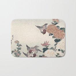 Katsushika Hokusai - Sparrows and Chrysanthemums Bath Mat