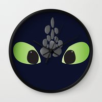 toothless Wall Clocks featuring Toothless. by Taste of Ink Designs