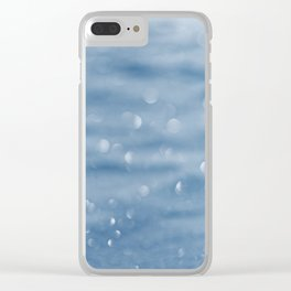 Blue sparkly defocused snowflakes Clear iPhone Case