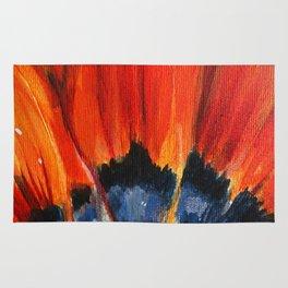 Orange Flower Painting Rug