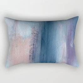 In a Blur: an abstract mixed media piece in pinks, blues, and purple Rectangular Pillow