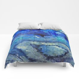 Blue agate texture digital art Comforters