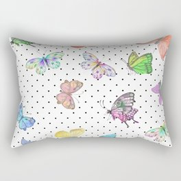 Colorful pink teal watercolor hand painted butterfly polka dots Rectangular Pillow