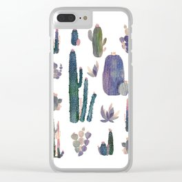Watercolor Catus Clear iPhone Case