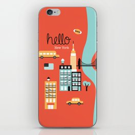 Hello New York - retro manhattan NYC icons illustration iPhone Skin