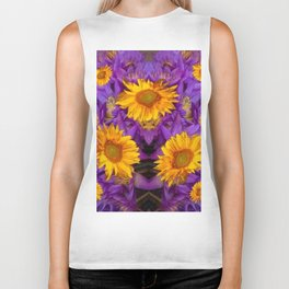 YELLOW SUNFLOWERS AMETHYST FLORALS Biker Tank