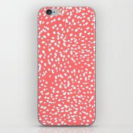Claudia - abstract minimal coral dot polka dots painterly brushstrokes iPhone Skin