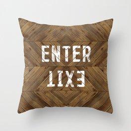Enter Exit Wood Chevron Throw Pillow