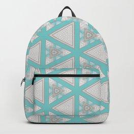 Bright Aqua White Multi Pattern Design Backpack