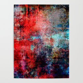 Modern Contemporary Red Abstract IntoDarkness Design Poster