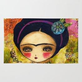 Frida In An Orange And Pink Dress Rug