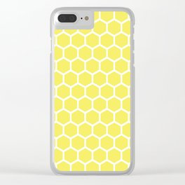 Summery Happy Yellow Honeycomb Pattern - MIX & MATCH Clear iPhone Case