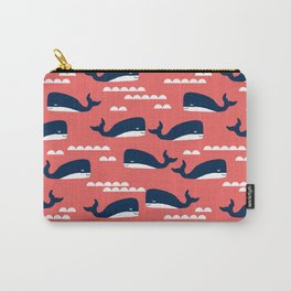 Nautical whales cute simple minimal basic ocean pattern nursery gender nuetral Carry-All Pouch