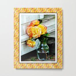 Good as Gold Roses in a vase with a patterned border Metal Print