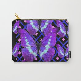 Purple Butterflies Migration on Black Pattern Art Carry-All Pouch
